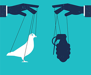 Graphic of two hands, one holding dove puppet, one holding grenade puppet