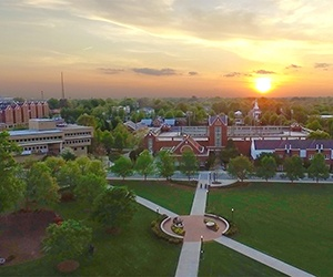 Photo of campus at sunset
