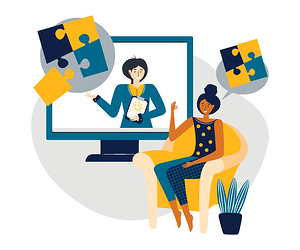 Graphic of two women talking via technology about careers