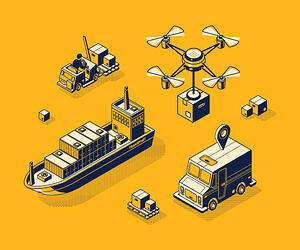 Graphic of  supply chain management icons