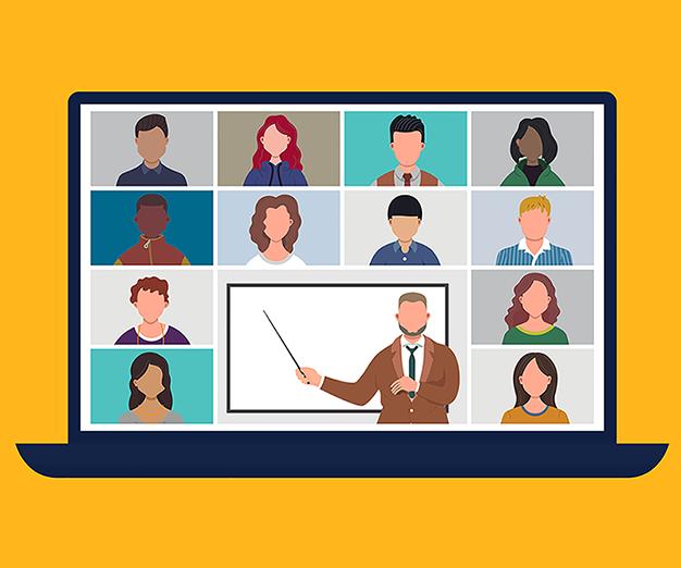 Illustration of professor teaching students online