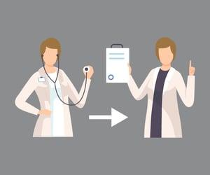 Illustration of nurse transitioning to administrator
