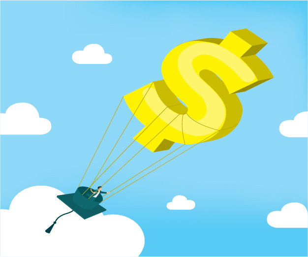 Illustration of dollar sign balloon carrying a mortarboard