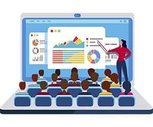 Illustration of a professor teaching class on a laptop