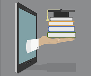 Graphic of hand reaching through computer monitor holding books and grad cap