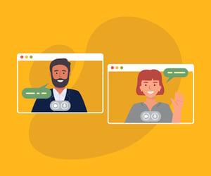 Man and woman having a virtual meeting