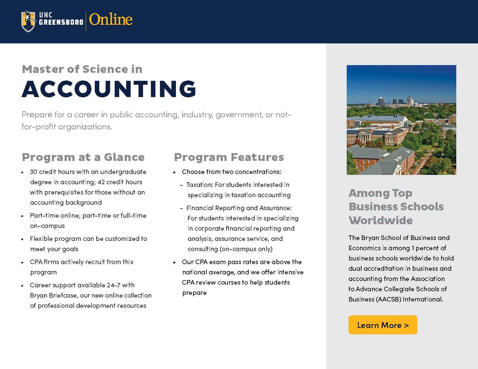 Master's in Accounting eBrochure Thumbnail