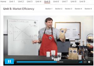 Screenshot of Dr. Sarbaum explaining microeconomics concepts.