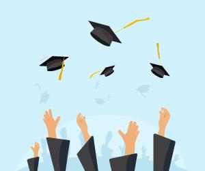 Graphic Image of Graduation Cap Toss