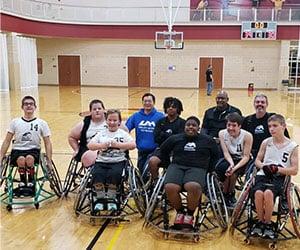 Group photo of wheelchair basketball team