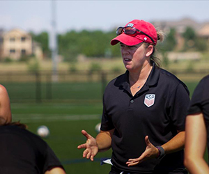 Photo of Jené Baclawski Instructing Coaches