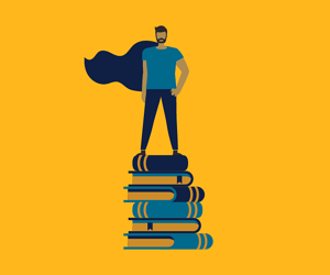 Student with cape standing on stack of books
