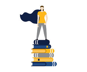 Woman in cape standing on stack of books