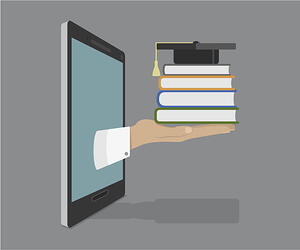 Hand reaching through monitor with books and mortarboard