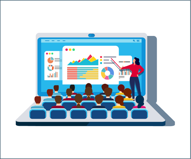 Illustration of teacher in front of online classroom