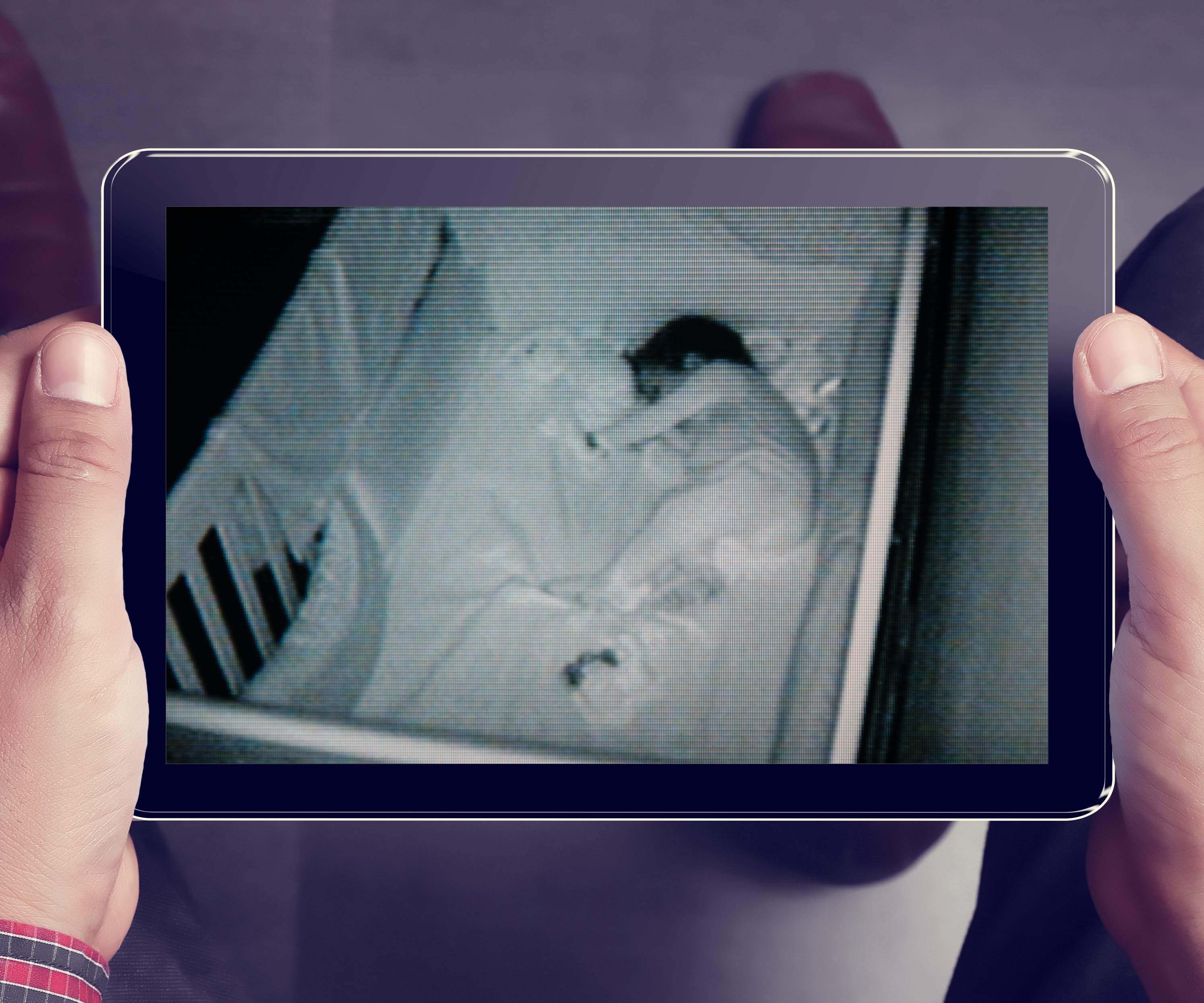 Photo of video image shown on tablet device