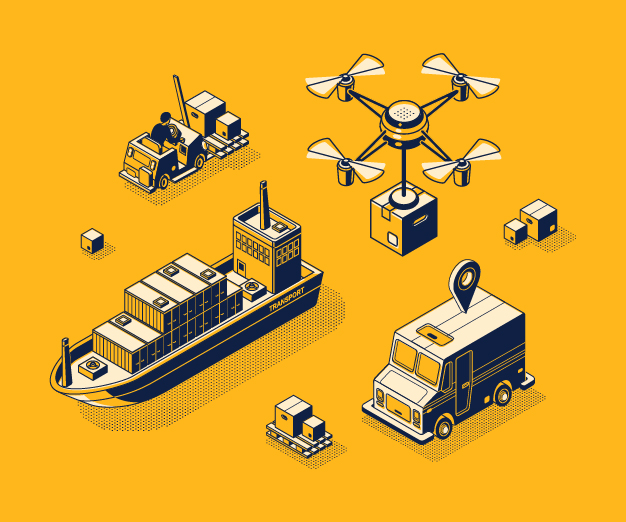 Illustration of supply chain icons