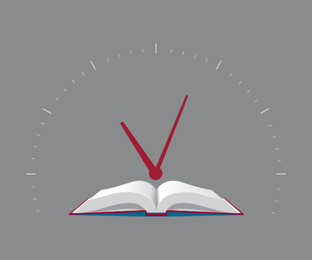 Illustration of a clock and a textbook